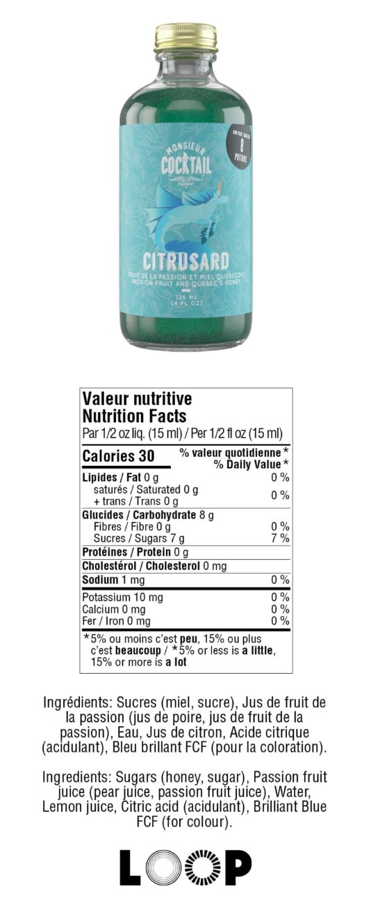 Valeurs nutritives - Sirop de miel au fruit de la passion (citrusard)