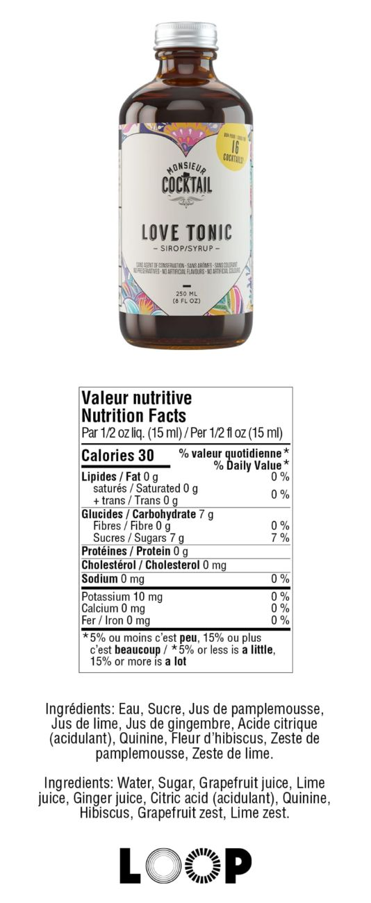Valeurs nutritives - Love tonic