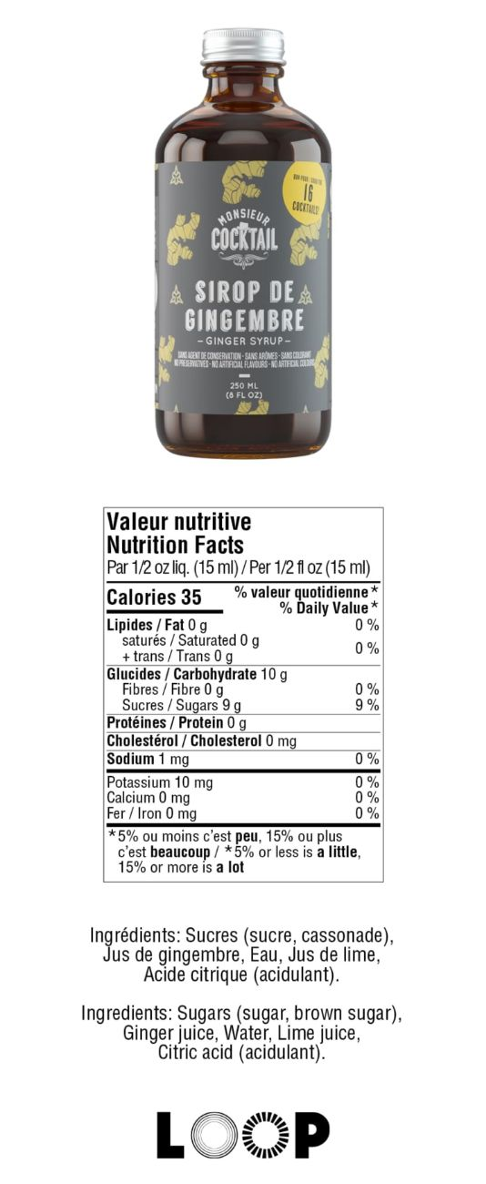 Valeurs nutritives - Sirop de gingembre