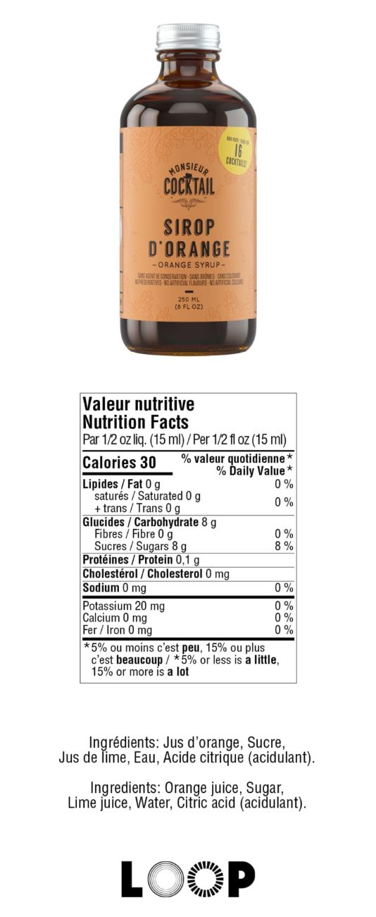 Valeurs nutritives - Sirop d'orange